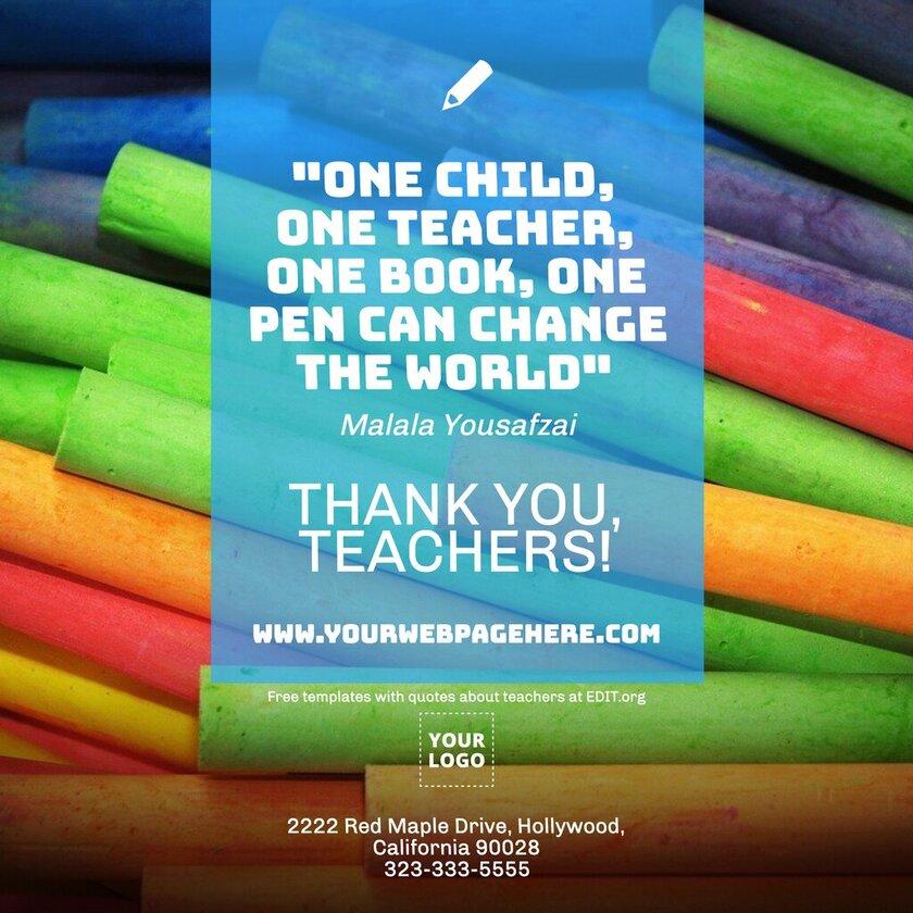 Custom happy Teachers Day card template
