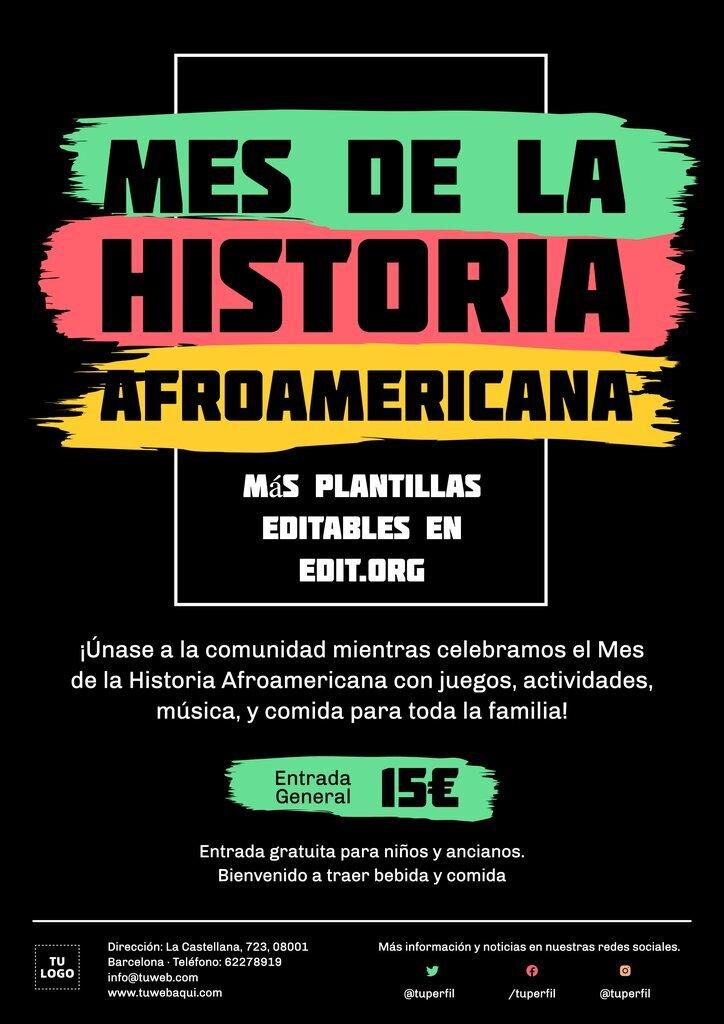 Cartel editable para el Mes de la Historia Afroamericana