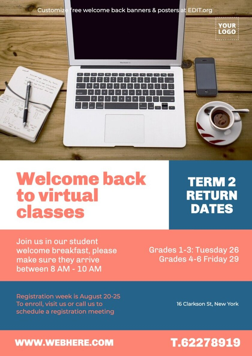 Customizable welcome back to school banners and posters