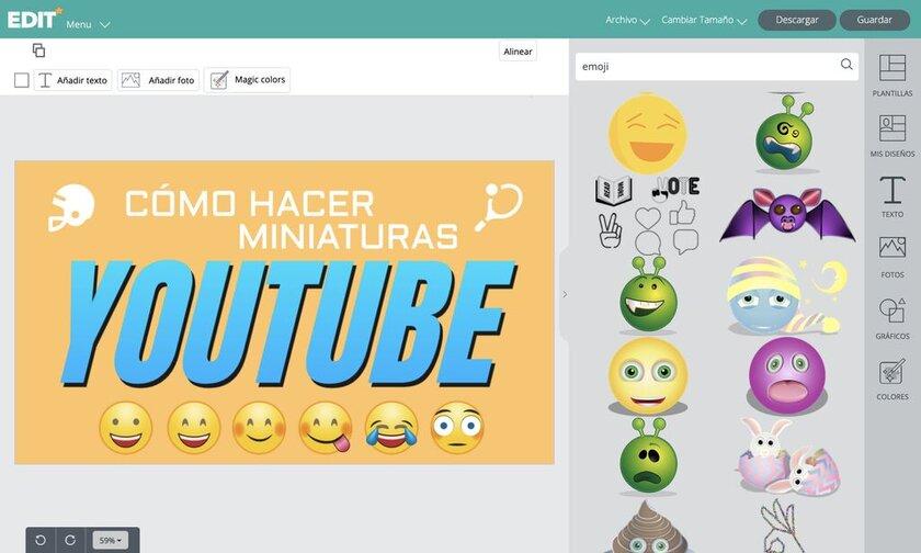 Cómo añadir emojis en miniaturas de Youtube gratis con el editor EDIT.org