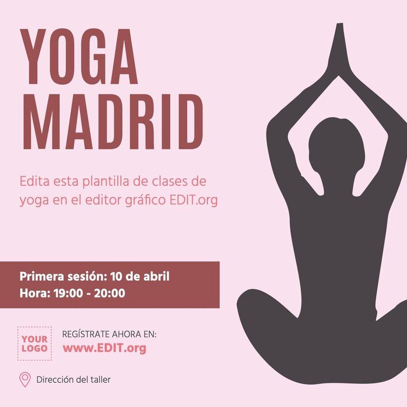 Plantilla de diseño editable para anunciar clases de Yoga