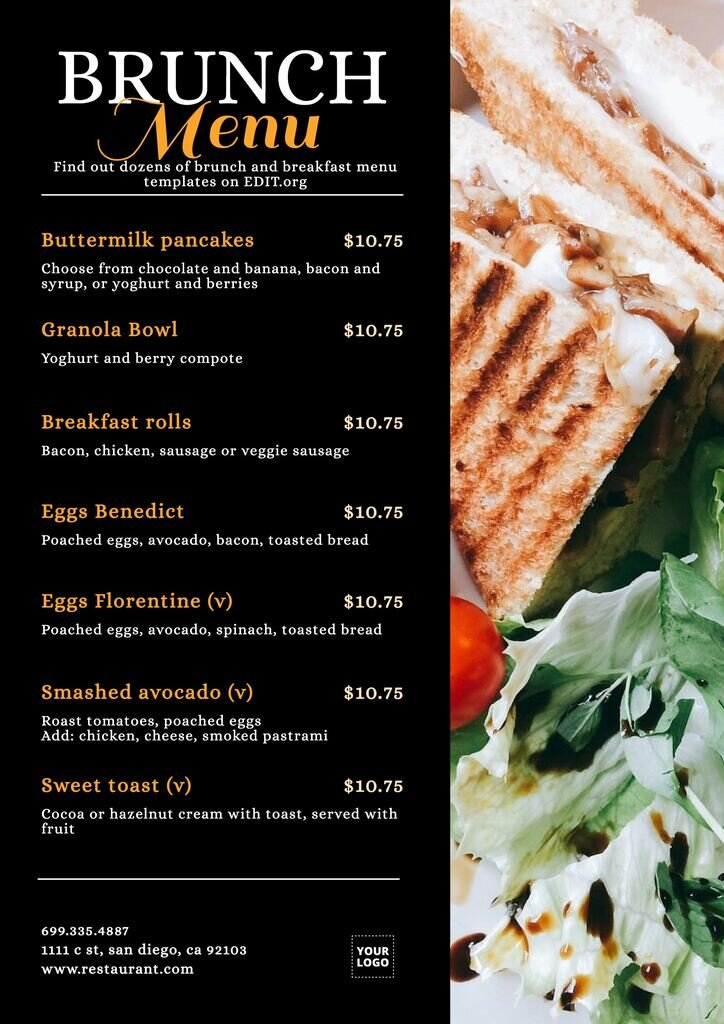 Breakfast brunch menu template to download and print for free