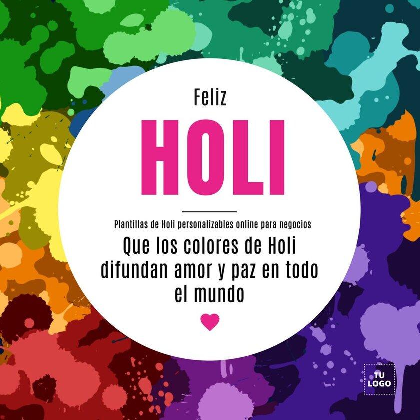 Diseños gratis de festival de Holi para negocios con frases