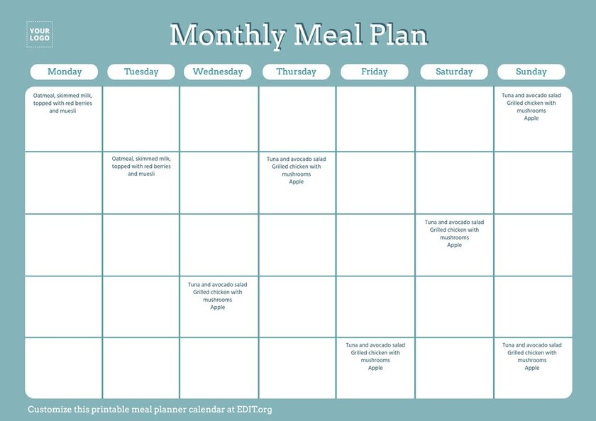 Downloadable meal plan template editable online for free