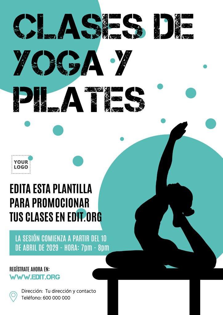 Plantilla para crear diseños de carteles y flyers para promocionar tus clases y cursos de Yoga y Pilates