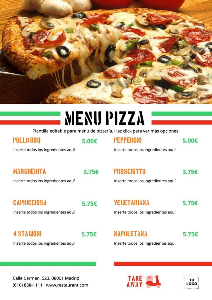 Carta de restaurante de pizzas editable online gratis