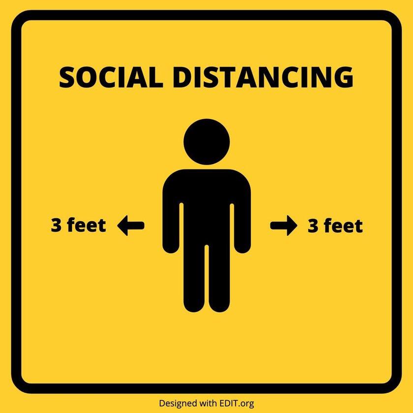 template social distance coronavirus 6 feet