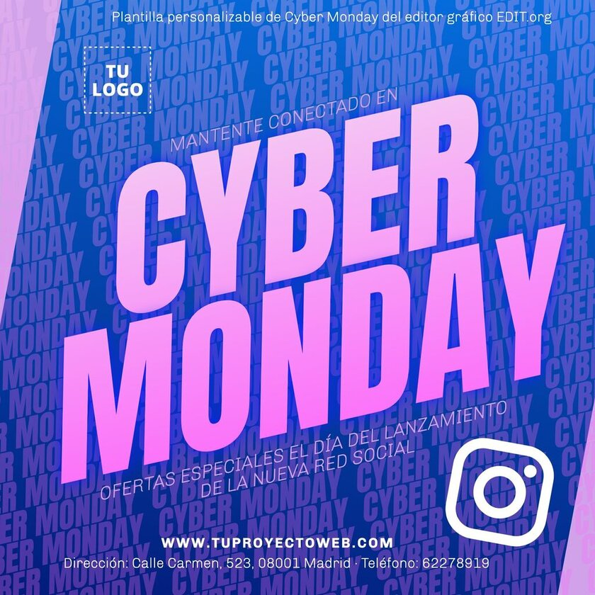 Banner editable de Cyber Monday gratis