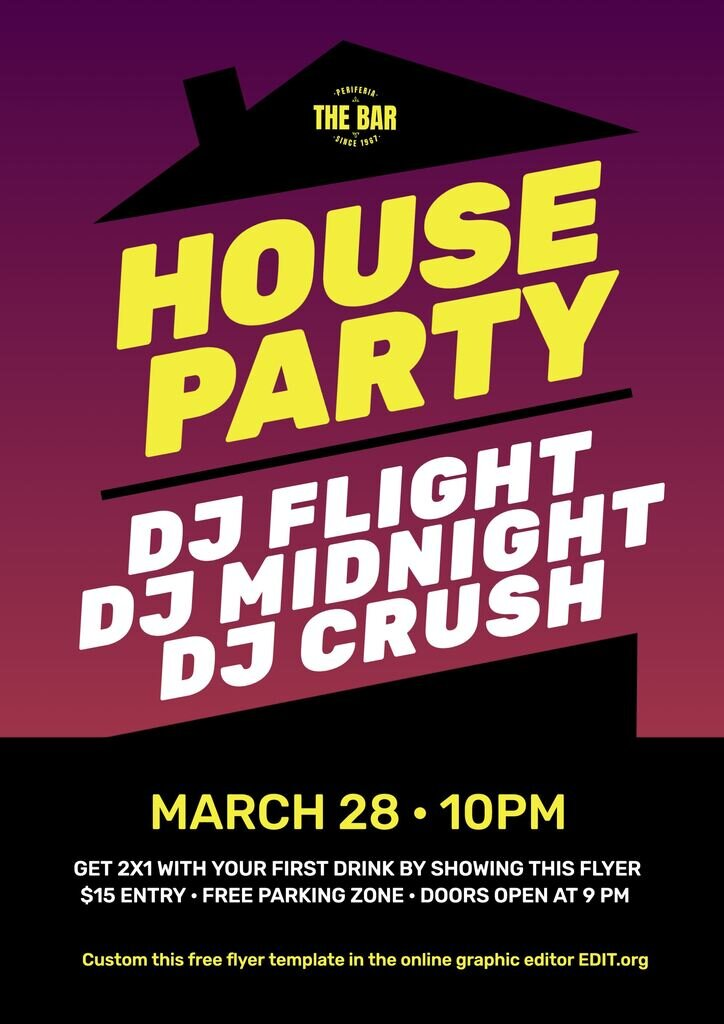 House party templates editable online for free
