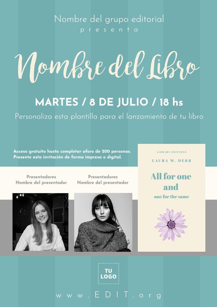 Plantilla editable de Invitación para el evento de presentación de un libro