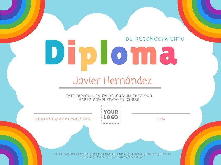 Plantilla de diploma infantil editable online para niños