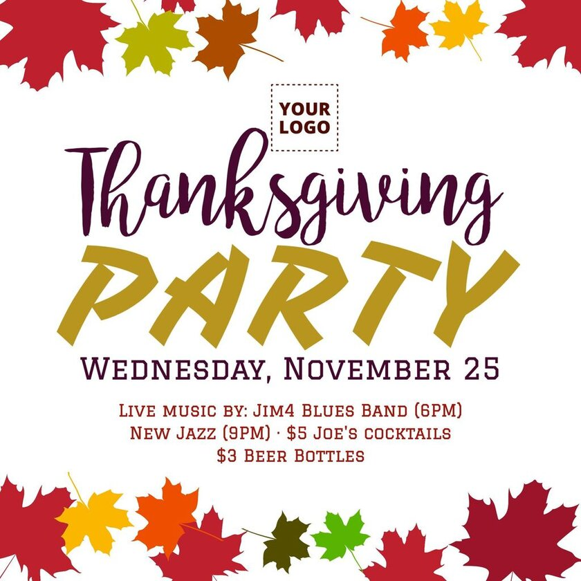 Thanksgiving celebration banner for parties and events, shows, live music, ready to edit