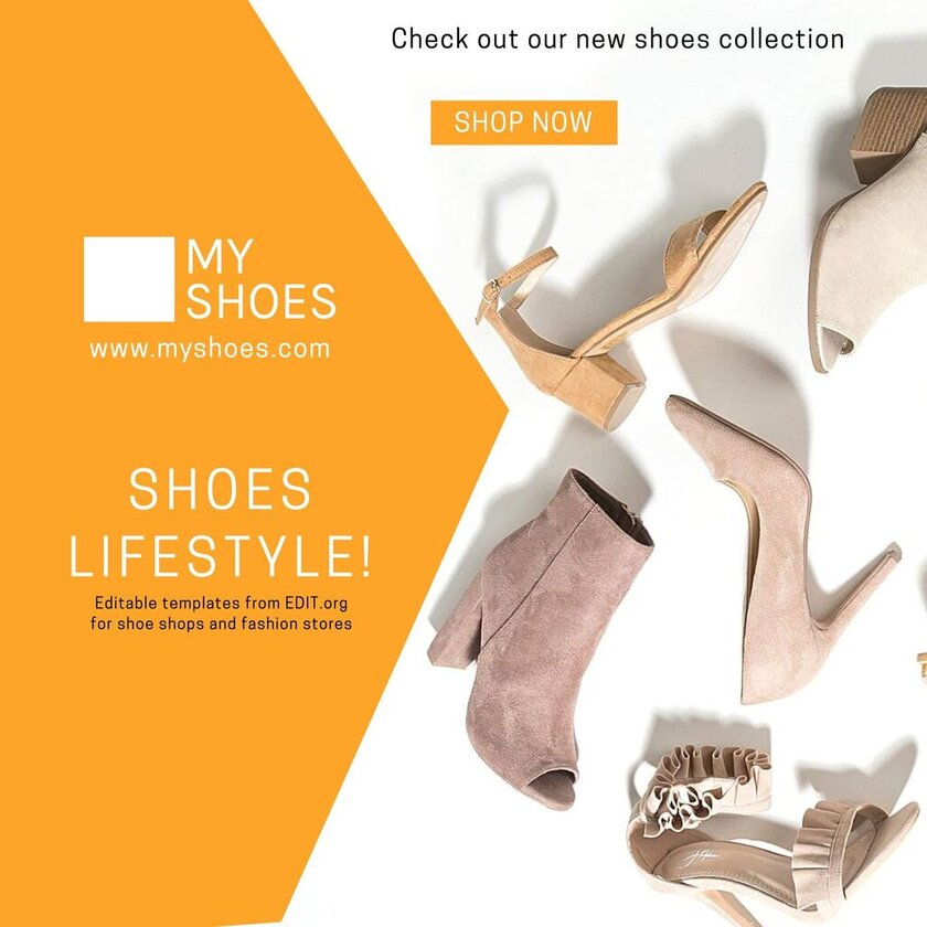 Customizable templates for shoe shop advertisement