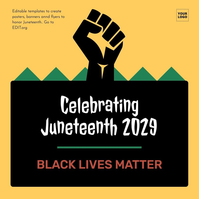 Black lives matter editable template to honor Juneteenth