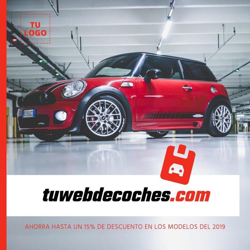 Cartel editable para concesionario de coches. Guia de marketing con plantillas diseñadas