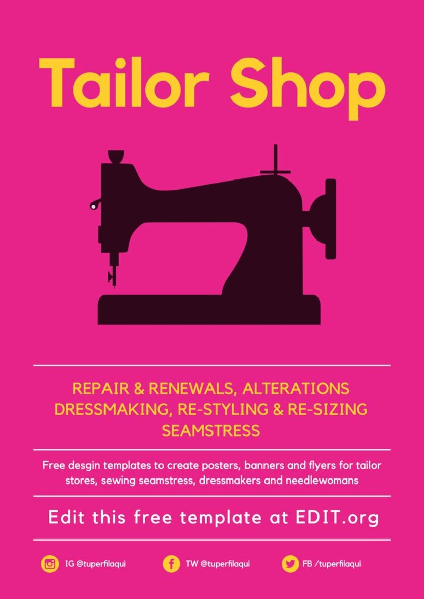 Customizable poster to promote a sewing service