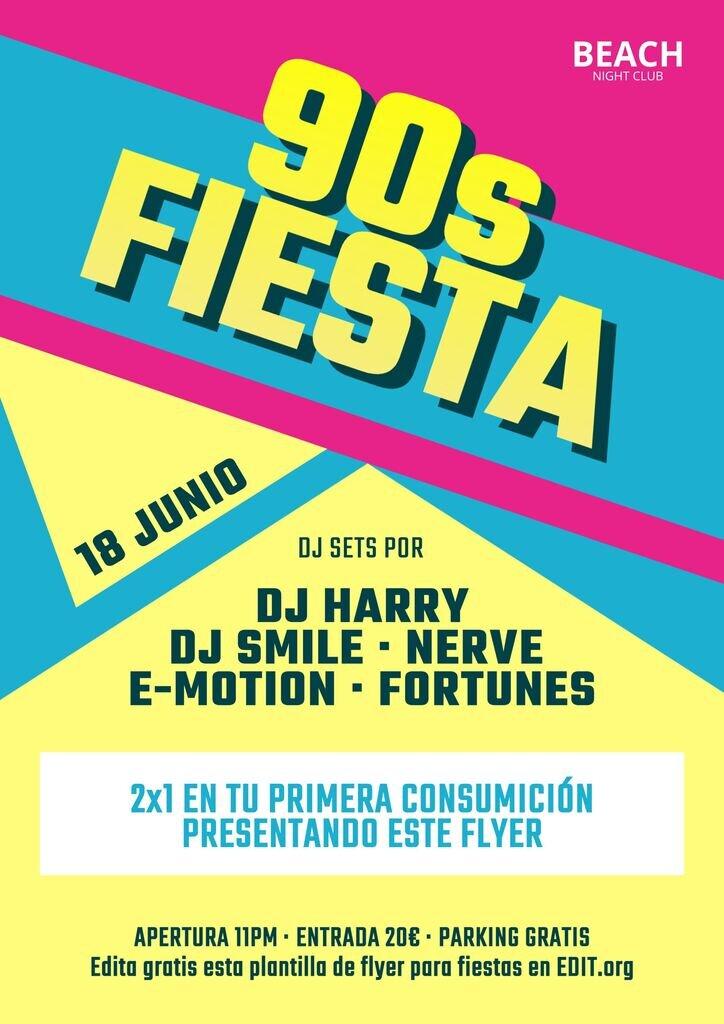 Flyer para fiestas años 90s editable gratis online