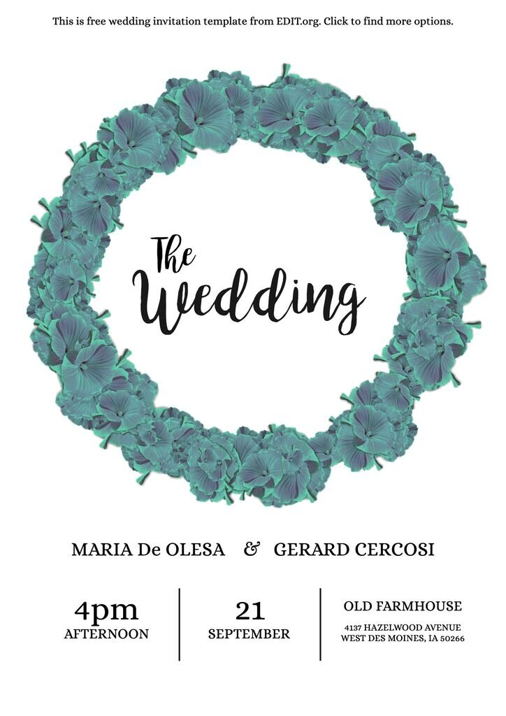 Wedding invitation custom template to edit online and for free