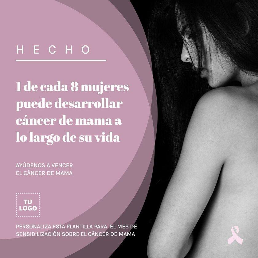 Plantilla de banner editable online para luchar contra el Cáncer de Mama