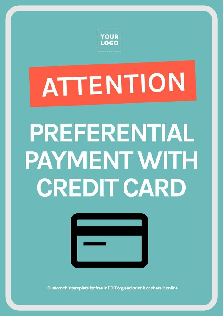 Template design payment with credit card accepted