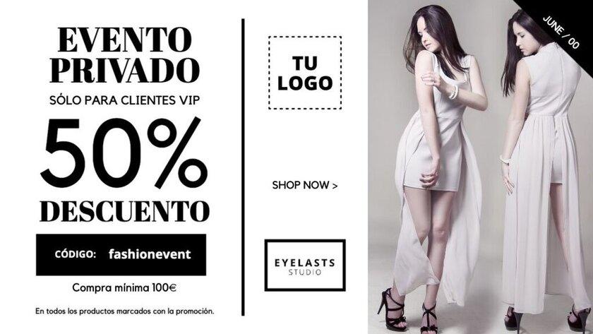 Plantilla editable para eventos privados de tiendas de moda