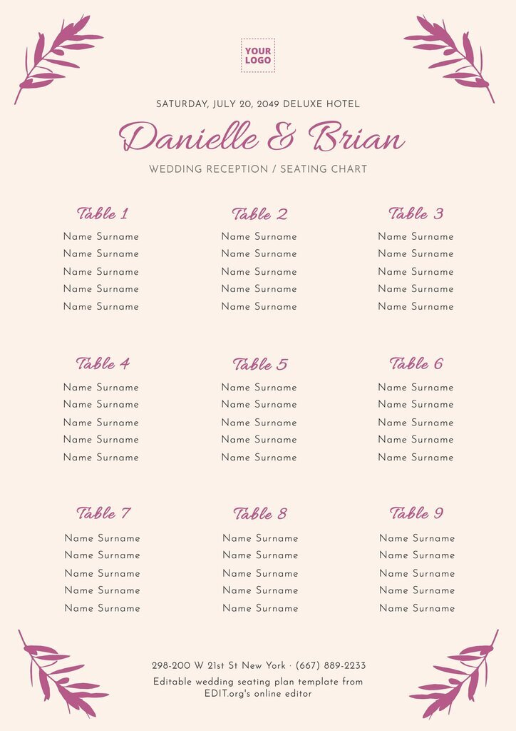 Editable table plan template