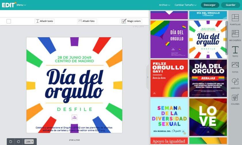 Editor online de diseños y plantillas para el día del orgullo gay gratis