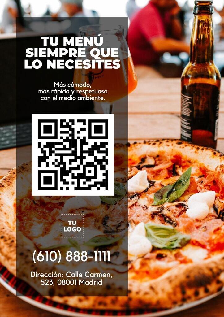 Plantilla editable para código QR para menú de restaurante