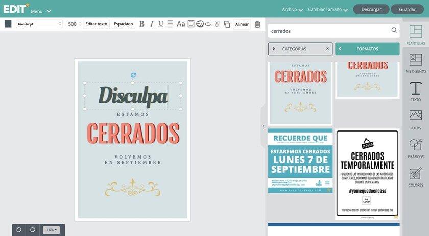 EDIT.org Editor gráfico para carteles personalizables - Cerrado por vacaciones