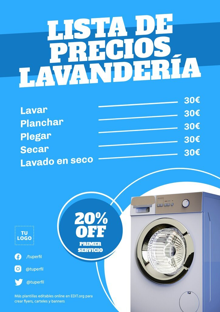 Plantilla editable online para crear flyer con Lista de Precios de Lavanderías y Tintorerías
