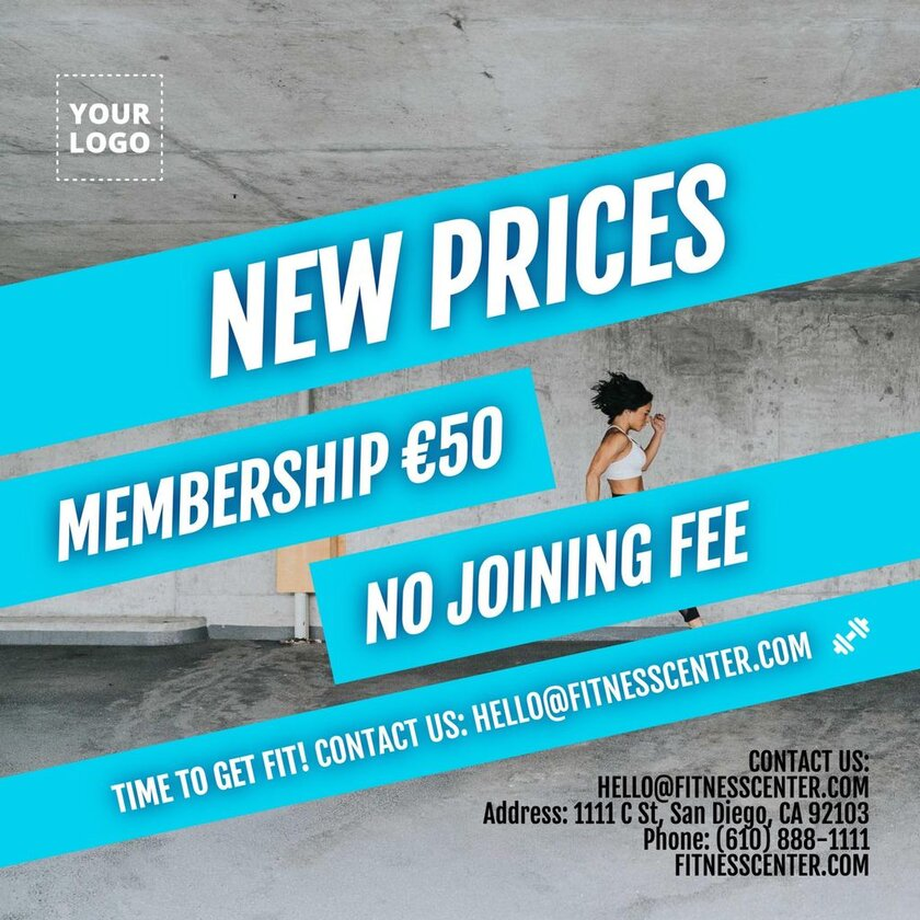 Membership options template for gyms