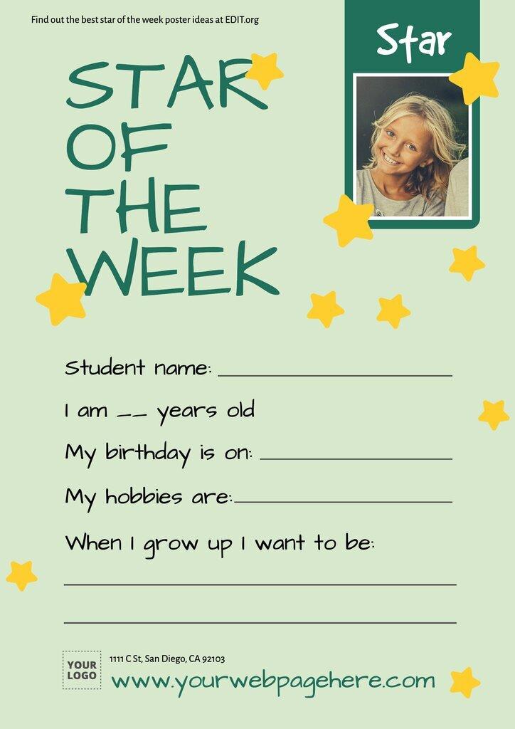Star of the week template editable online
