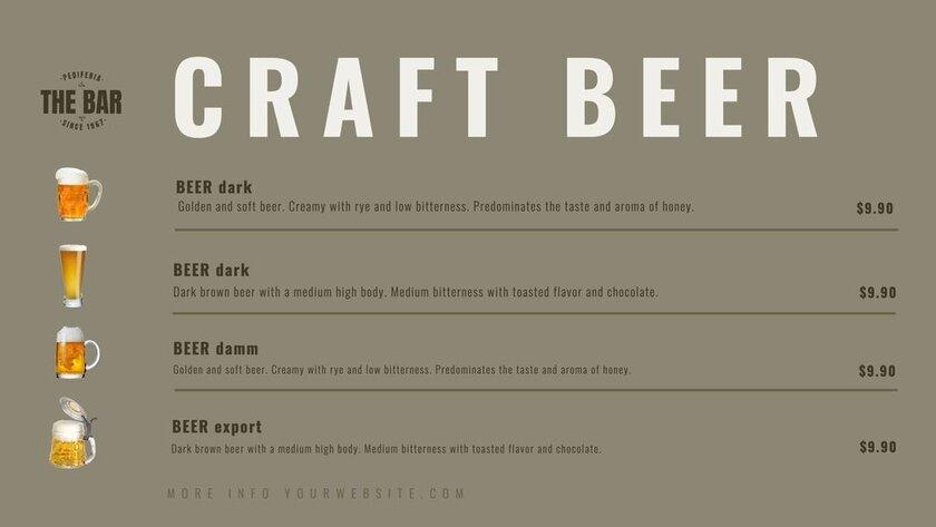 Editable beer menu template for bars and restaurants