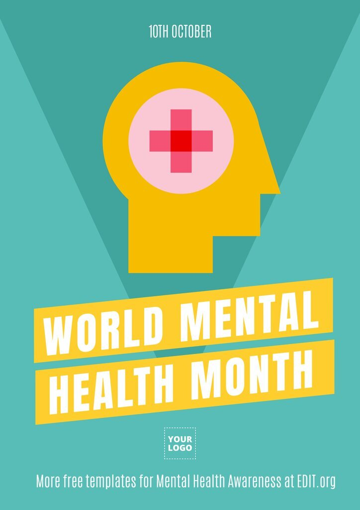 World mental health month poster to edit online and print