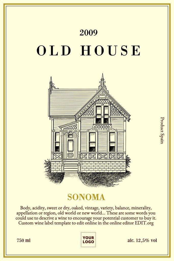 Wine label template for white or red wines editable online