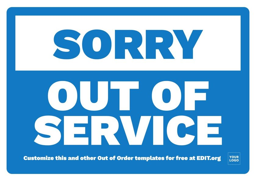 Out of Service sign template to custom online for free