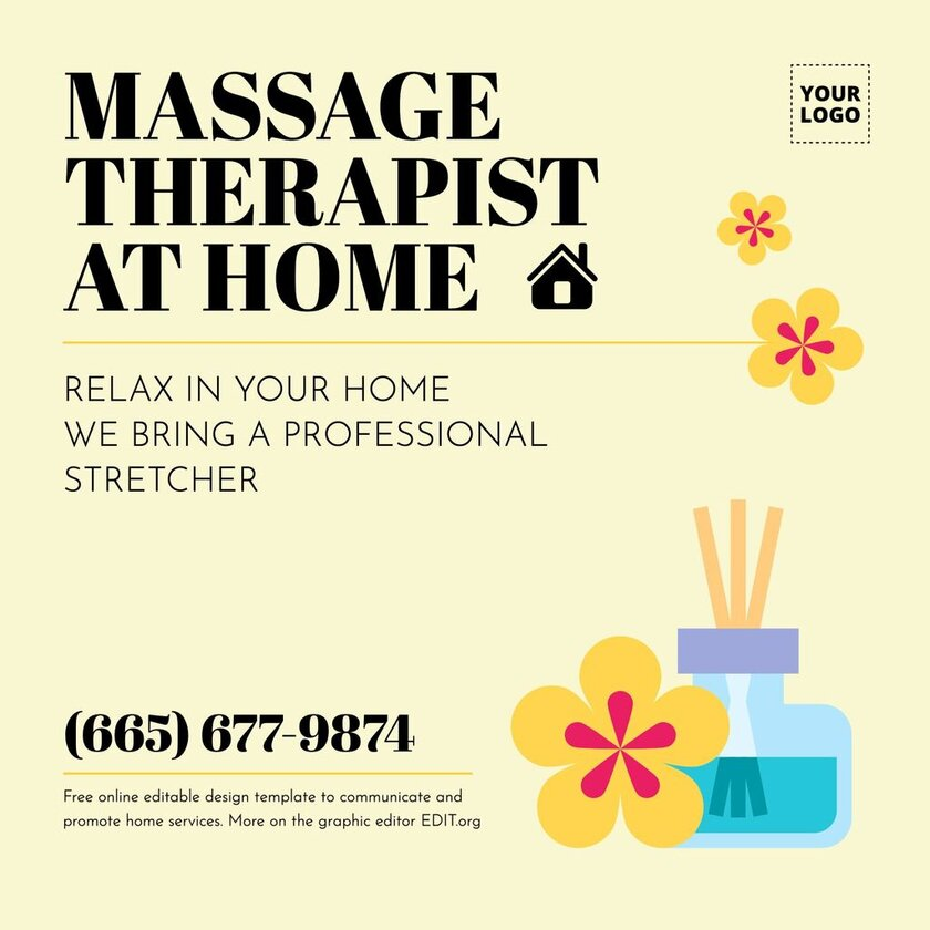 Massage therapist ad banner template free editable online