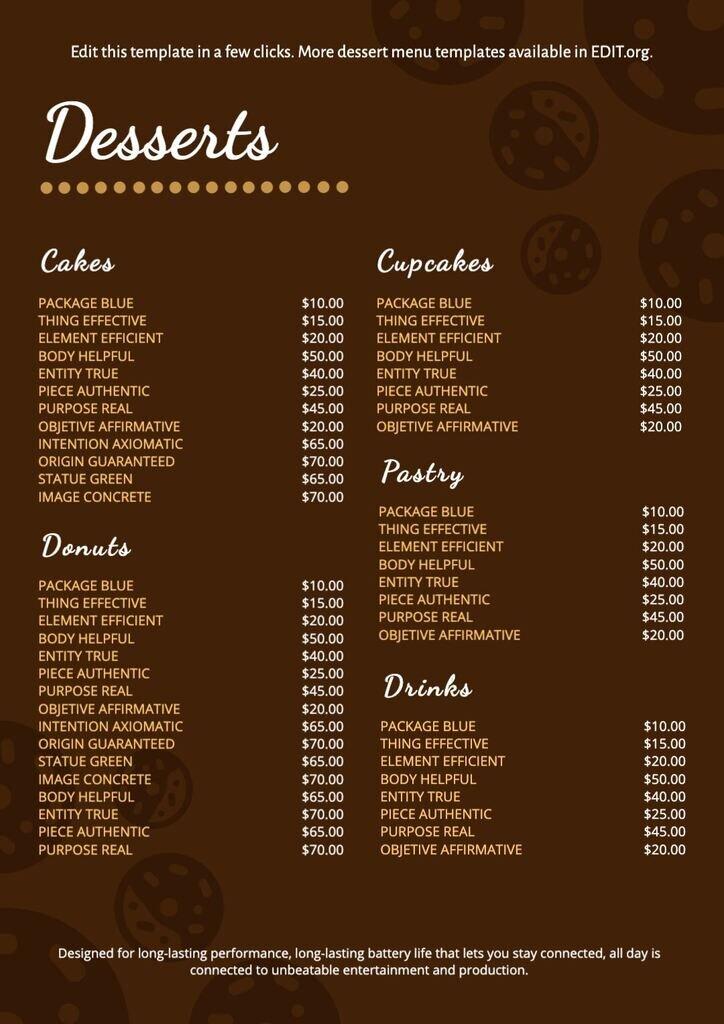 Restaurant free dessert list template to edit online easily