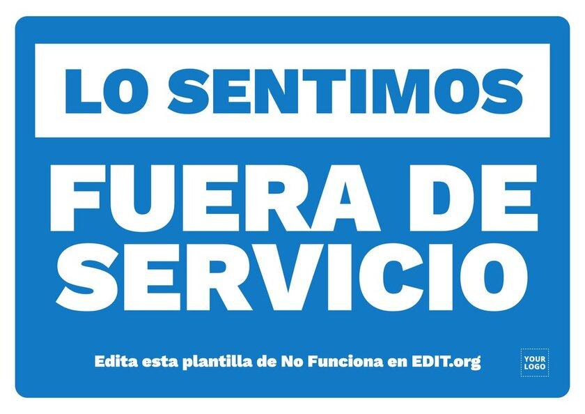 Cartel editable online de Fuera de Servicio, para personalizar e imprimir