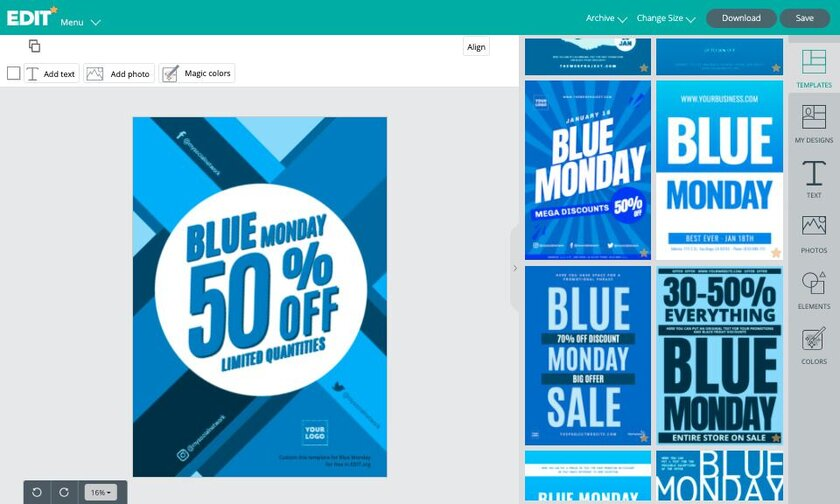 Blue Monday templates online graphic editor for free