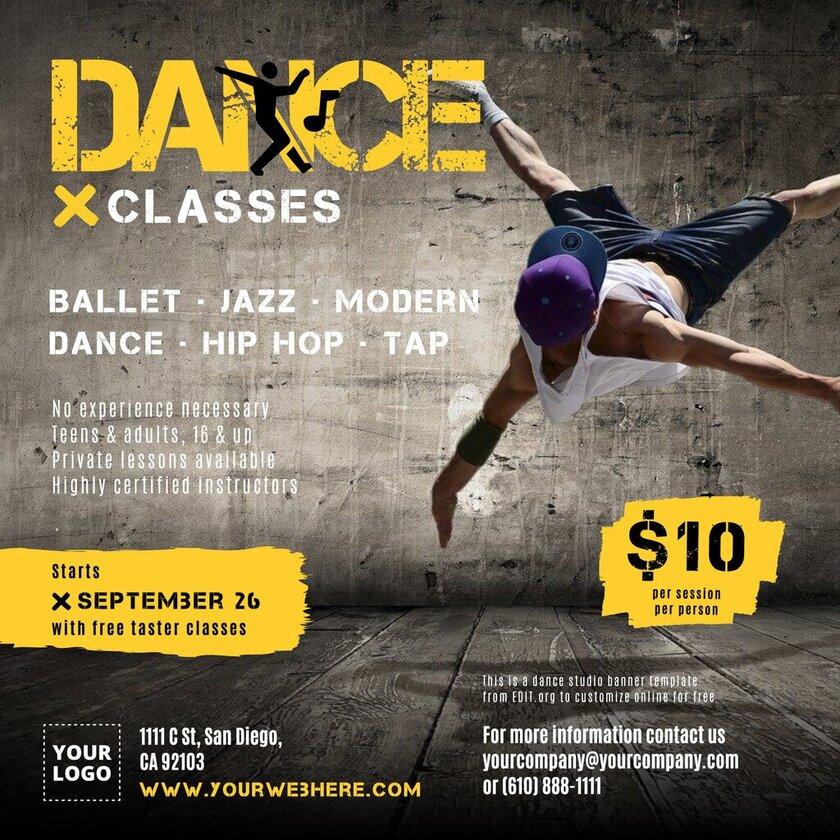 Custom dance class template for dance schools
