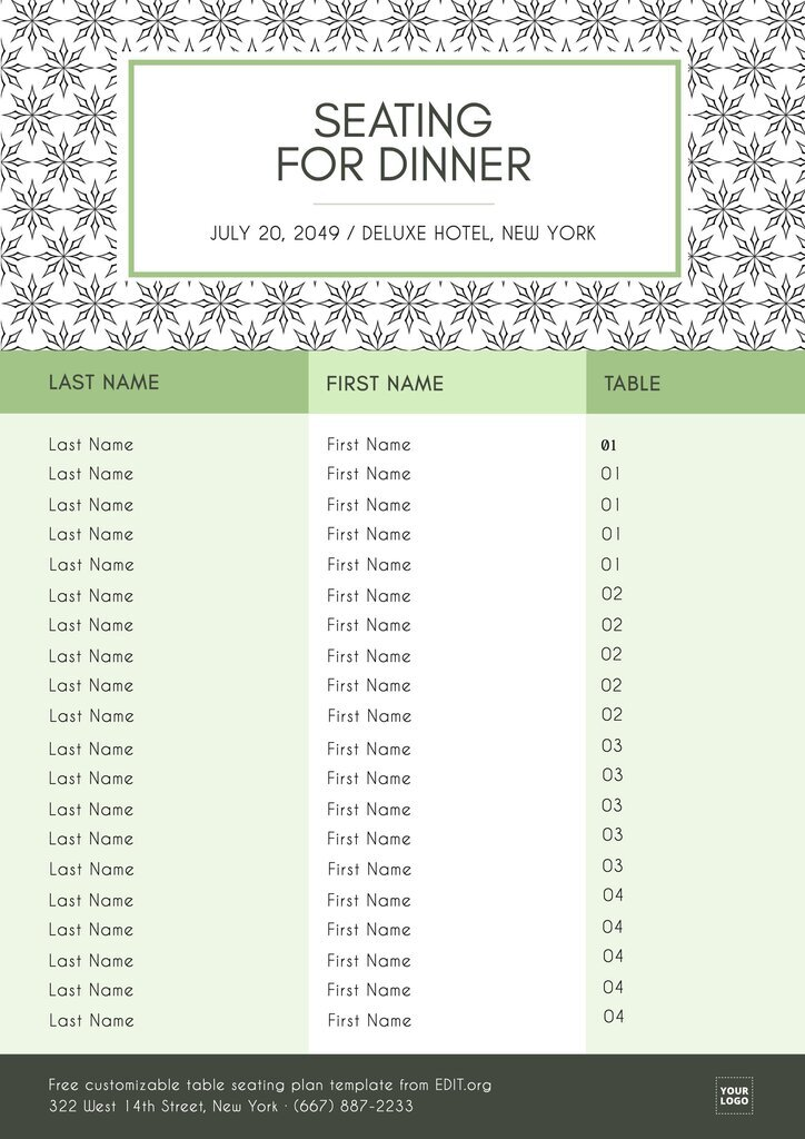 Wedding reception seating chart template