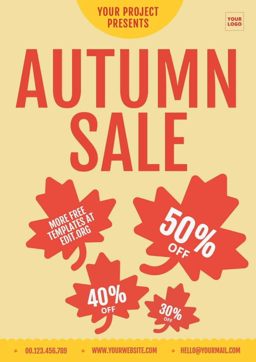 Printable template to edit online for the promotion of the FALL SALE