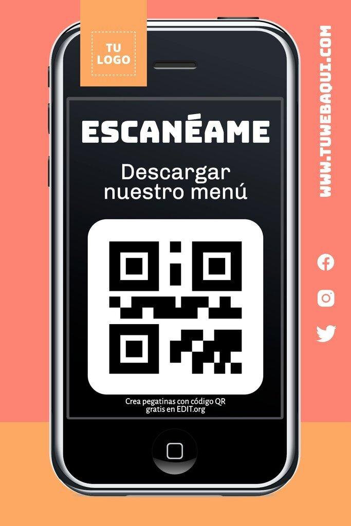 Diseño de pegatina con un código QR para editar online
