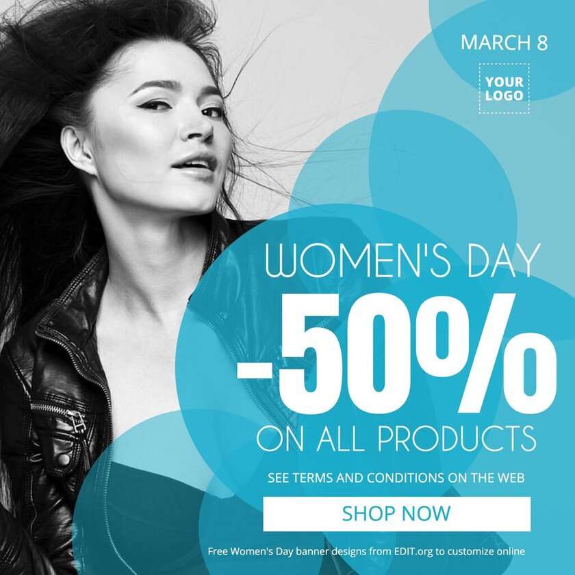 Editable banners for promotions with Womens Day quotes