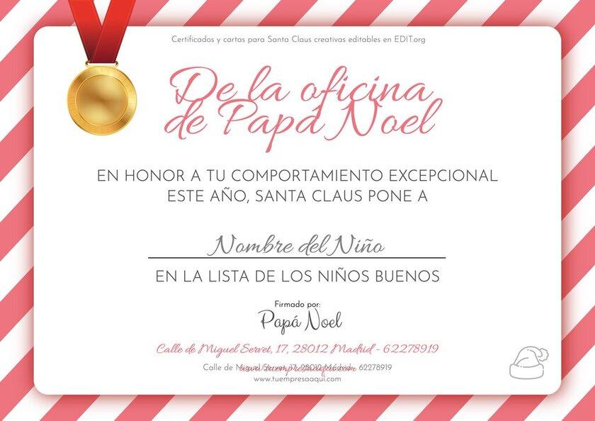 Plantillas para certificados de Papá Noel editables