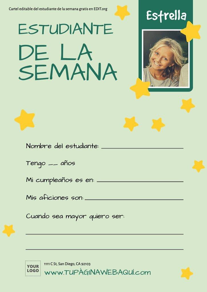 Cartel imprimible de estrella de la semana para escuelas