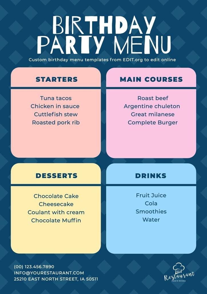 Editable birthday menu card for restaurants
