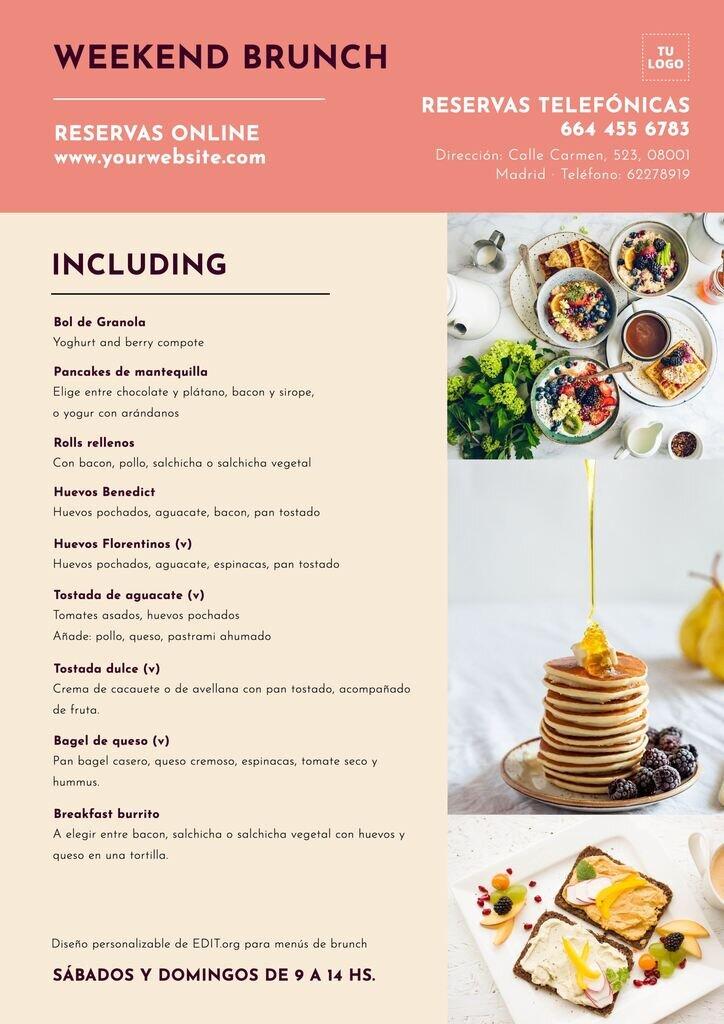 Plantillas para menus de desayunos para cafeterias