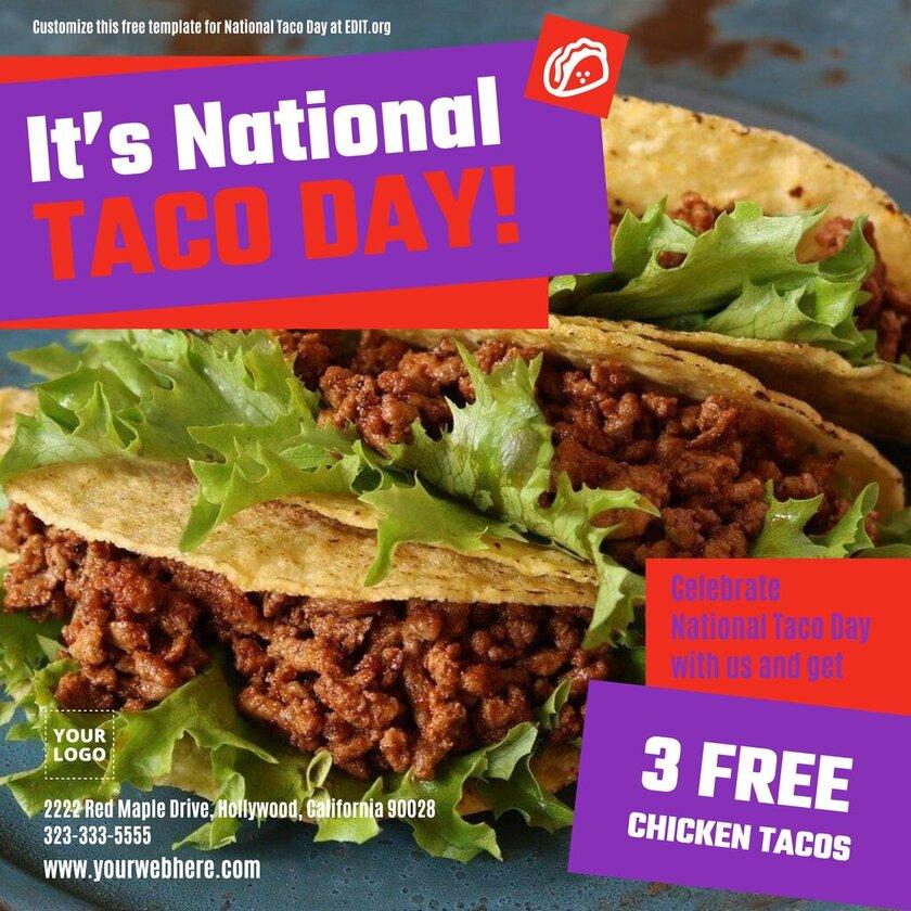 Editable National Taco Day banner
